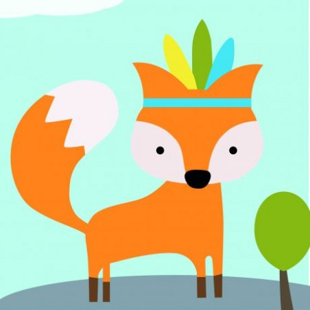 Kit canevas soudan20x20 foxy petit renard rusé broderie
