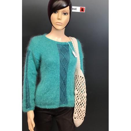Pull tricoté hiver 100% fait main Laine Anny blatt fine kid et victoria vert golf
