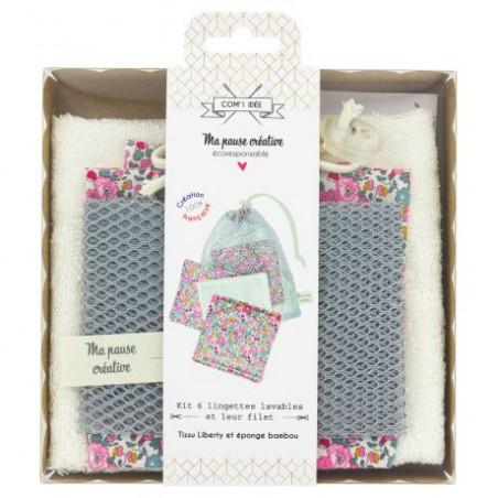 Kit 6 lingettes démaquillantes lavables et leur filet - Kit couture