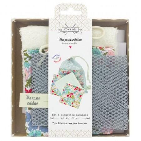 Kit 6 lingettes démaquillantes lavables et leur filet - Kit couture kll003
